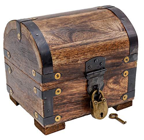 Brynnberg - Caja de Madera Cofre del Tesoro con candado Pirata de Estilo Vintage, Diseño Retro 14x12x12cm