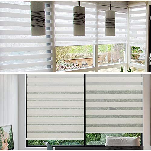 """SMT- Manufacturer OFFicial shop W 71"""" x H 72"""" White Shades Blinds Zebra Dual Roller Louisville-Jefferson County Mall Lay"""