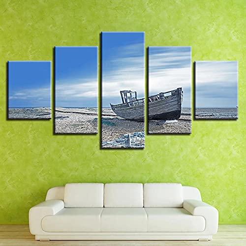 Lienzo 5 Piezas Cuadro Lienzo No Tejido Barco De Basura De La Playa del Cielo Azul 5 Carteles Pintura Mural Modernos Hogar Decoracion Artes 150X80Cm