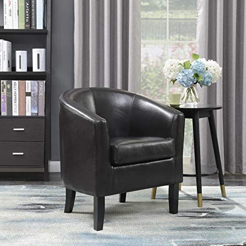 Best BELLEZE Modern Arm Club Chair Faux Leather Tub Barrel Style, Brown
