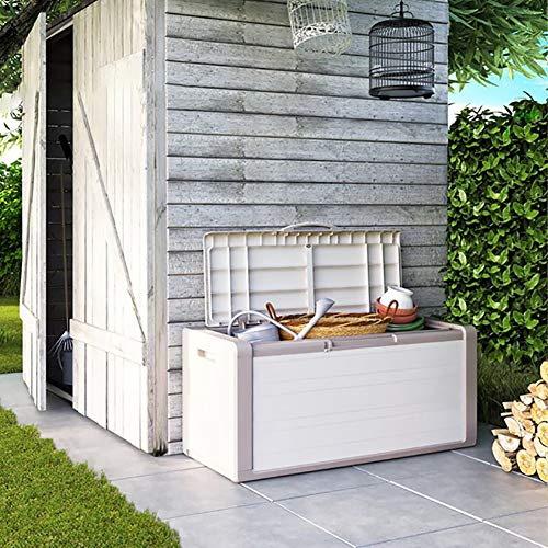 Caja de Cubierta de Resina de 80 galones con Ruedas, para Muebles de jardín y Patio, Almacenamiento de Cojines al Aire Libre, diseño Impermeable, fácil de Instalar