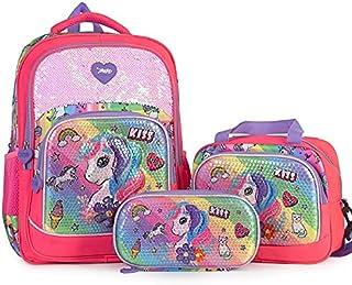 Girls 3 pieces Cartoons Unicorn Elementary School Backpack with Flashy LED Lighting Waterproof