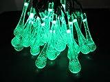 LEDソーラーイルミネーション 30球 しずく 8パターン 屋外 ソーラー クリスマス 防水仕様 (グリーン)