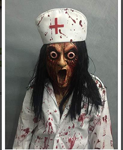 CXKSDIGJ Máscara De Halloween Bola De Maquillaje Cabello Largo Fantasma Doctor Enfermera Máscara De Terror