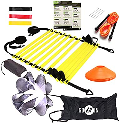 goalin Speed & Agility Training Set - Set of Premium Agility Ladder, 10 Disc Cones, Running Parachute, Jumping Rope, Resistance Bands, Drill Manual - Football, Soccer, Basketball, Training Athletes