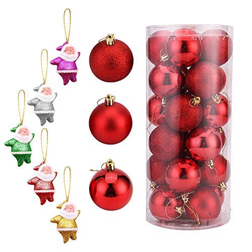 FeiliandaJJ 24PCS 6CM Weihnachtskugel Boxed Gemalt Kugel + 10PCS Schneeflocke Weihnachten Deko Anhänger Christbaumkugeln für Weihnachtsbaum Party Home Hochzeit (Rot-Weiss)