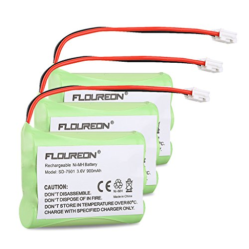 Floureon 3 Packs Rechargeable Cordless Phone Battery for V-Tech 89-1323-00-00 Model 27910 Telephone Replacement Pack
