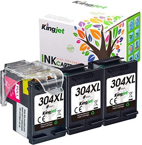 Kingjet (3 Negro) Remanufacturado para HP 304 304XL Cartuchos de Tinta para HP Envy 5010 5020 5030 5032 Deskjet 2620 2622 2630 2632 2633 2634 3720 3730 3733 3735 3750 3760 3762 3764
