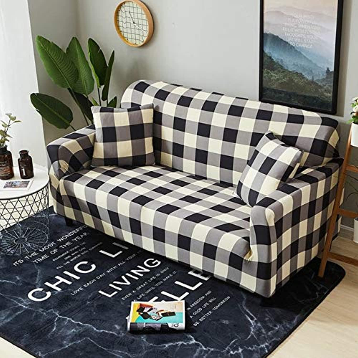 European Elegant Printing Sofa Cover Tight Wrap All-Inclusive Sectional Elastic Seat Couch Covers Slipcovers 1PC   color 12, 2seater 145-185cm