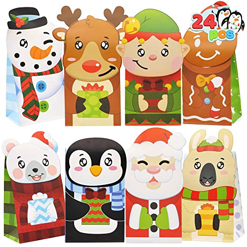 24 Christmas Die-Cut Flip Over Gift Treat Paper Bags for Holiday Party Treats, Pastries, Cupcakes, Cookies Goodie, Brownies, Donuts Xmas Gift-Giving Bag