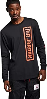 Nike Air Jordan City of Flight Men's Long Sleeve Basketball T Shirt Size XL Black