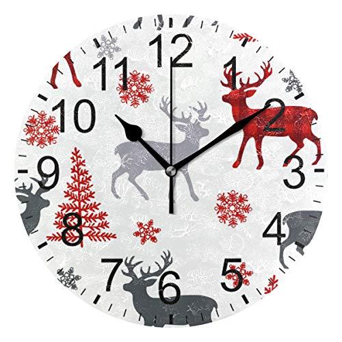 SENNSEE Wapiti Wanduhr, weihnachtliches Rentier, dekorative Wanduhr, für Wohnzimmer, Schlafzimmer, Küche, batteriebetrieben, rund
