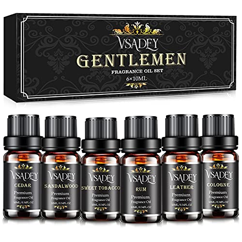 Gentleman's Essential Oils Set, Vsadey 6 X 10ML Aromatherapy Essential Oil Kit, Pure Natural Essential Oils for Diffuser (Cedar, Sandalwood, Leather, Sweet Tobacco, Bay Rum, Cologne) - Gift for Men