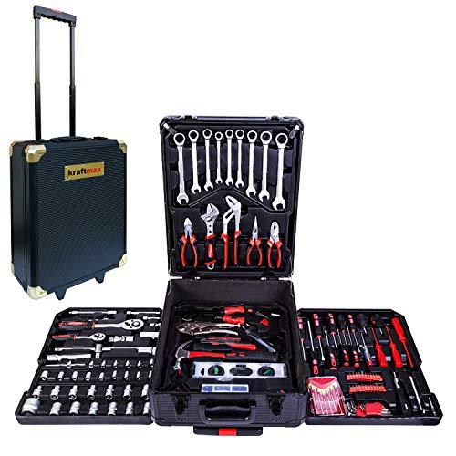 Kraftmax Werkzeugkoffer mit Rollen fahrbar, 399 teilige Handwerkzeugsatz aus Chrom Vanadium Stahl, schwarz, Werkzeug Trolley befüllt, rollende Werkzeugkiste