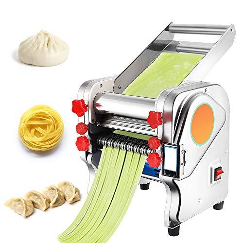 CGOLDENWALL Máquina de Pasta Semiautomático Eléctrica de Acero Inoxidable de Espesor Ajustable 0.1mm-5mm Máquina de Rodillos para Lasagna Ravioli Spaghetti Fettuccine (Cuchilla Plana de 2mm, 6