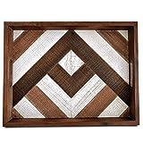 Wooden Serving Tray with Handles - Decorative Tray Rustic Farmhouse Decor - Ottoman Coffee Table Tray, Tv Tray, Dinner Tray, Tea Tray, Bar Tray, Breakfast Tray, Bed Food Tray
