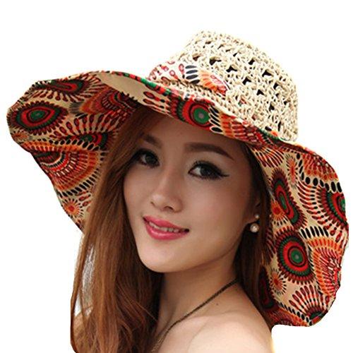 TININNA Pieghevole Bohemia Floreale floscio Large Wide Brim Cappello di Paglia Spiaggia Cappello da Sole Visiera cap per Signore delle Donne Khaki