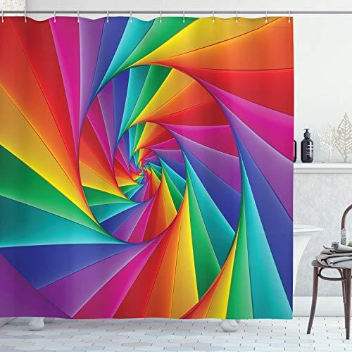 ABAKUHAUS Duschvorhang, Spiral Geformte Geometrische Farbige Dreiecke eine Bunte Illusion Darstellen Digital Kunst Druck, Wasser & Blickdicht aus Stoff mit 12 Ringen Bakterie Resistent, 175 X 200 cm
