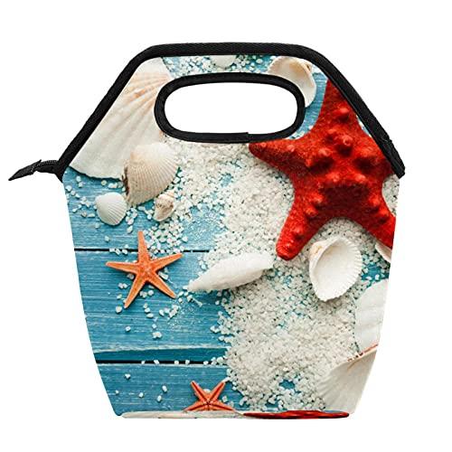 Bolsa de almuerzo portátil Caja de almuerzo de alta capacidad Paquete de comida para trabajo de oficina Viaje escolar Starfish shell arena verano