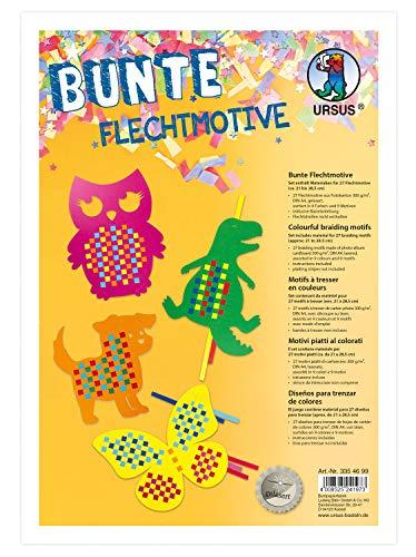 Ursus 3354699 Bunte Flechtmotive, Material für 27 Motive, in 9 verschiedenen Farben, ca. 21 x 28,5 cm, aus Fotokarton, inklusive Bastelanleitung, kreative Beschäftigung für Kinder, ideal als Geschenk