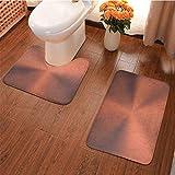 Ahuimin Alfombra de baño de microfibra absorbente, imagen de textura circular realista con movimiento óptico Mod, alfombras de tela para bañera ducha y baño, color rosa dorado marrón