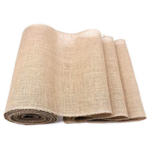 Donken Camino de mesa de yute con cinta de yute, 30 cm de ancho, natural, por metros, tela de yute vintage, decoración para bodas, festivales, 30 cm x 10 m