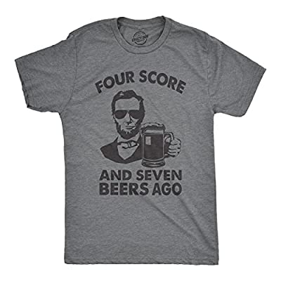 Crazy Dog T-Shirts Mens Four Score and Seven Beers Ago Tshirt Funny 4th of July Drinking Tee (Dark Heather Grey) - M