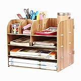 LONTG Caja de almacenamiento Organizador de escritorio de madera de la escuela 4 Estantes de almacenamiento Caja de ensamblaje multifunción Buzón con portalápices Cajones Revistero Revista Libros A4
