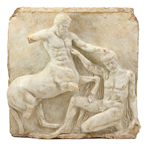 Ebros Large Classical Greek Mythology God Half Man Half Horse Mortal Combat Centaur And Lapiths Metope Wall Hanging Plaque Decor Statue 16.25'Tall Collection Roman Greco Olympian Gods 3D Sculpture