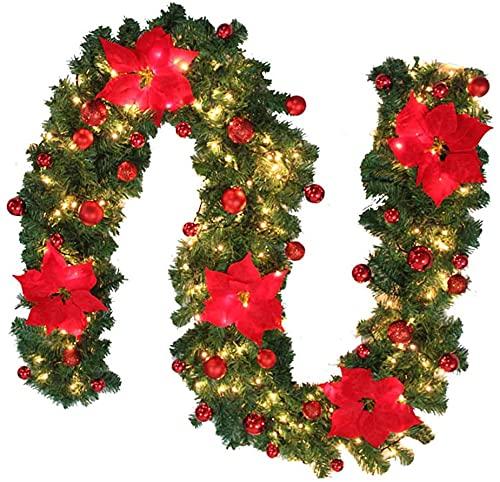 2.7m Ghirlanda Natalizia Con Luci,ghirlanda Natalizia Luci a Led Luminoso DIY Ghirlande Natalizie Esterno Fiori Palline Per Caminetti Dell'albero Natale Scale Porte Per Decorazione Casa(3M LED Rosso)