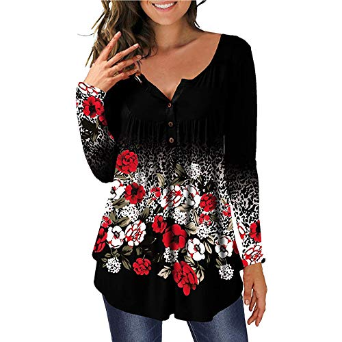 VEMOW Blusas y Camisas de Manga Larga/Manga Corta para Mujer, 2021 Impresión de Floral Casual Fiesta T-Shirt Básico Camisa Túnica Plisada Suelto Jersey Tops con Botón(A Negro,XL)