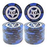 COSDDI 20 Piezas Fichas de Póker Casino Club Fichas de Póker a Granel - Elija Denominación ($10)