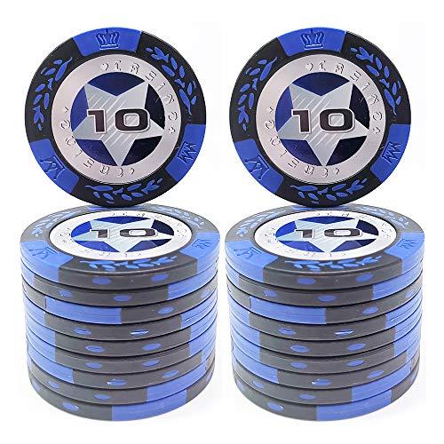 COSDDI 20 Stück Pokerchips Casino Club Pokerchips Bulk - Wählen Sie die Stückelung ($10)