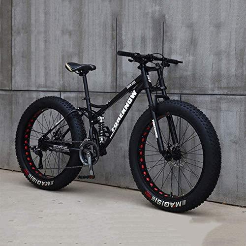 Cacoffay VTT, Vélo, 26 Pouces 7/21/24/27 Speed Bike, Hommes Femmes Étudiant À Vitesse Variable Vélo, Fat Tire Mens Mountain Bike,Noir,27 Speed