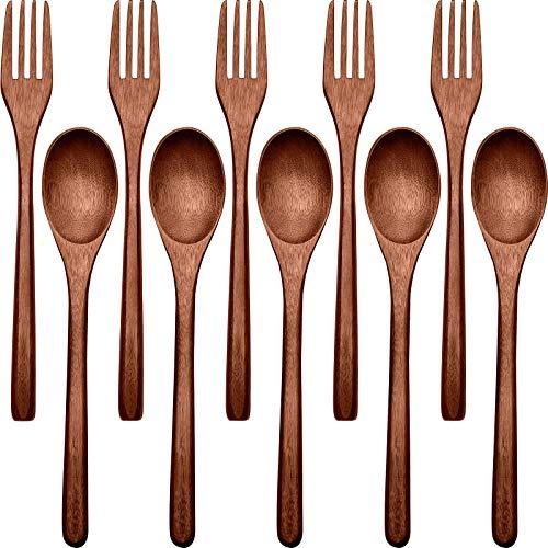 New Wooden Spoons Forks Set Including Wooden Spoons and Wooden Forks Japanese Wooden Utensil Set Reusable Handmade Natural Wood Flatware Set for Cooking Stirring Eating (10)