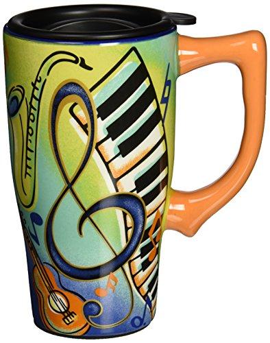 Spoontiques Music Travel Mug, 14 ounces, Multi Colored