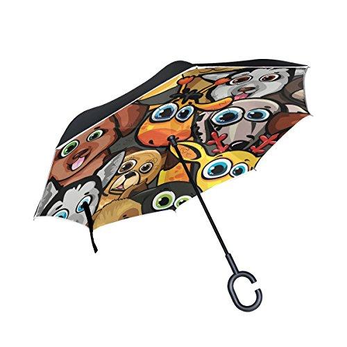 ISAOA Großer Regenschirm, umgekehrt, winddicht, doppellagige Konstruktion, umgekehrt, faltbarer Regenschirm für Autoregen im Freien, C-förmiger Griff, selbststehend, niedlicher Hundeschirm
