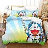 Juego de Ropa de Cama 3 Piezas - Doraemon Césped de Sol - 1 Funda Nórdica 2 Funda Almohada Japan Anime Doraemon Refrescante Microfibra Moda Inicio Ropa de Cama - 200x200cm