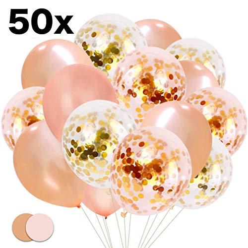 TK Gruppe Timo Klingler 50x Luftballons mit Konfetti Glitter Rose, Gold Rosegold Ballons, Helium geeignet als Deko zu Hochzeit & Geburtstag (50x Konfetti)