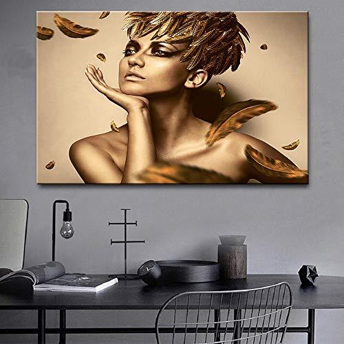 Schwarzes Gold afrikanisches Kunstölgemälde Skandinavische Frauenplakate und Leinwanddrucke Wohnzimmerwandbild 50x70cm Rahmenlos