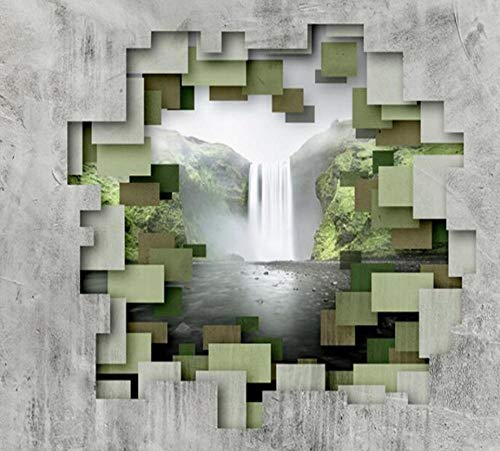 Niet-geweven behang Fijne Decor Minimalistische 3D Wallpaper Stereoscopische Polygon Geometrische Beton Muur Waterval Fotobehang Moderne Home Decoratie Wandpapier 430 * 300 430 * 300