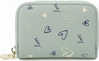 Pusaman Women's Love Print Purse, a Simple Zipper Coin Purse (Color : Green, Size : 10.8 * 7.6 * 2.3cm)