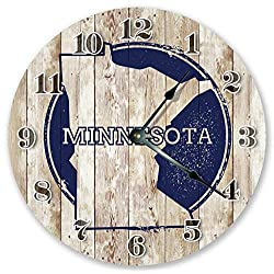 Sugar Vine Art Minnesota State Stamp Silent Non Ticking Round Battery Operated Handmade Hanging Large10.5 Inch Wall Clock for Bedroom Office Cottage Decoration