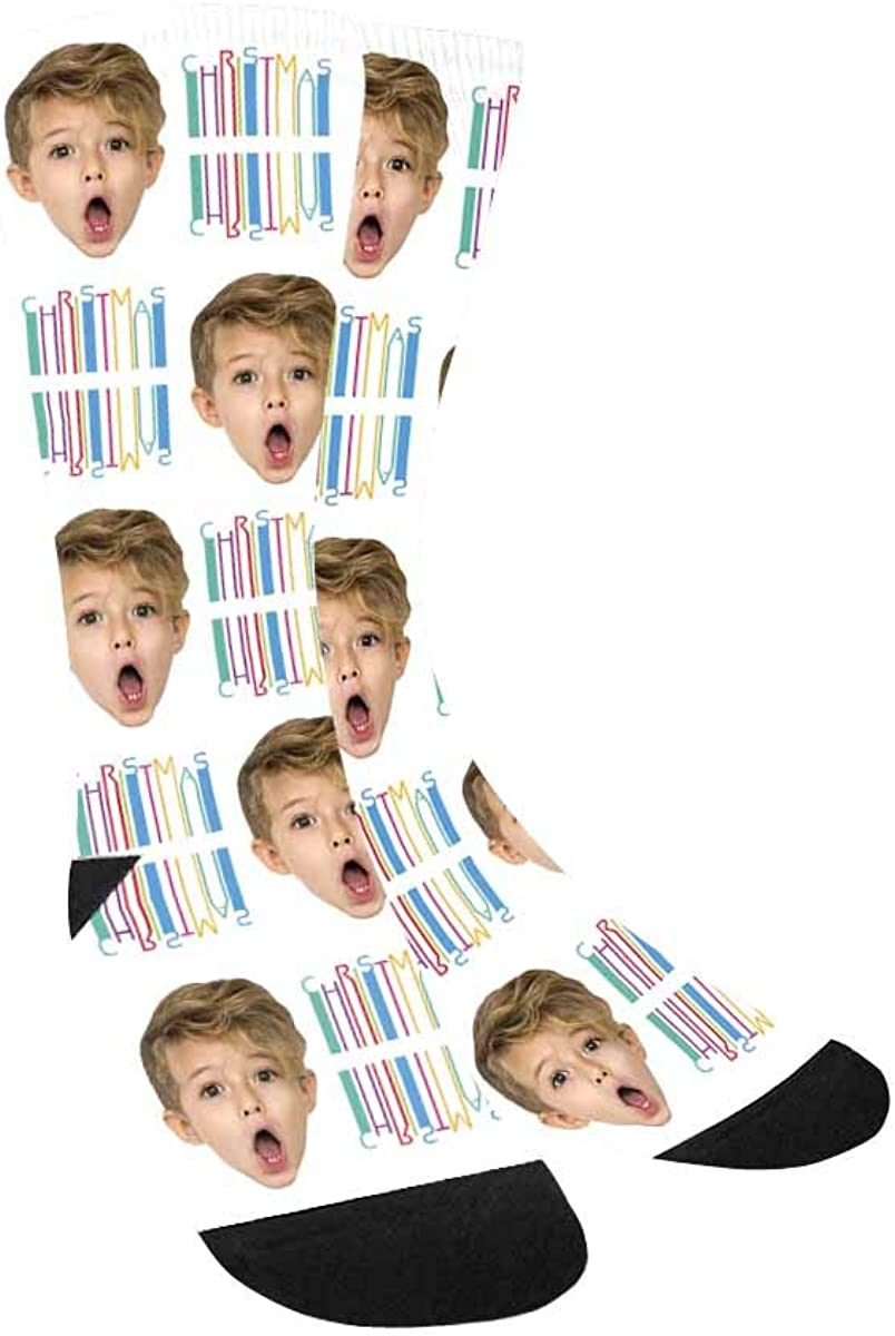 Custom Socks with Faces Christmas Colored Vertical Stripes Perso