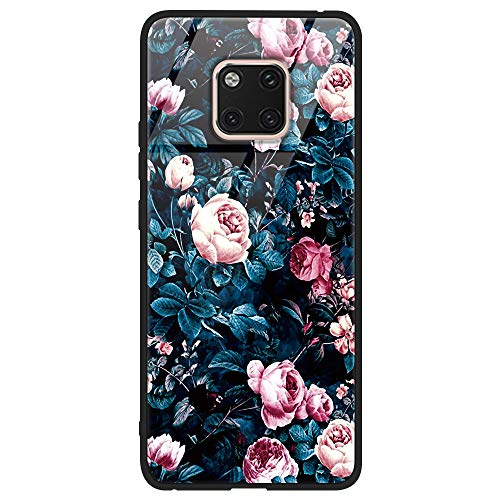 Yoedge Huawei Mate 20 Pro Hülle, Stoßfest Hybrid Schutzhülle [TPU Silikon + Glas Rückseite] mit Muster Motiv Handyhülle Kratzfeste Hardcase Rückschale Cover für Huawei Mate 20 Pro, Blumen