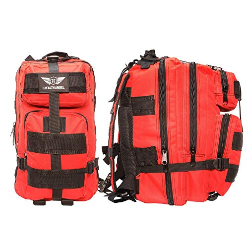 |STEALTH ANGEL| 2 Person Emergency Preparedness Kit - 72 Hour Red Survival Backpack for Earthquakes, Hurricanes, and Other Natural Disasters