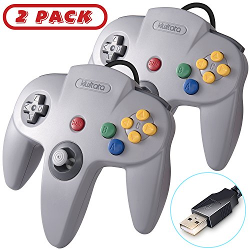 2 Pack Classic N64 USB Controller, Retro N64 Bit PC Wired Game Pad Controller Joystick for Windows PC Mac Linux Retro Pie Gray
