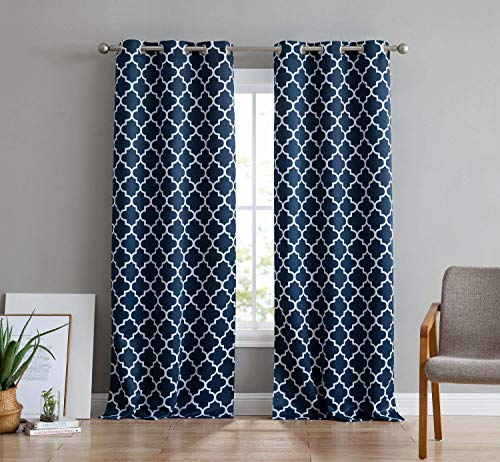 HLC.ME Lattice Print Thermal Insulated Room Darkening Blackout Grommet Window Curtain Panels for Bedroom - Set of 2-37 W x 72 L - Navy Blue