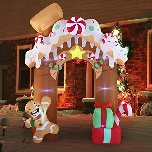 Joiedomi Christmas Inflatable Gingerbread House Archway 10 ft with Built-in LEDs Blow Up Inflatables for Christmas Party Indoor, Outdoor, Yard, Garden, Lawn Décor, Holiday Season Decorations