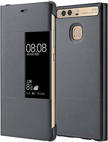 MOONCASE Klappetui Leder Tasche Schutzhülle Case Flip View Cover für Huawei P9 Grau